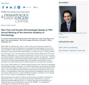 Dr. Paul M. Friedman recently spoke at the American Academy of Dermatology's 74th Annual Meeting.